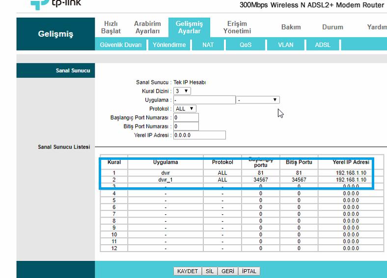 TP-Link TD-W8961ND Port_Yönlendirme_Resimli Anlatım_8